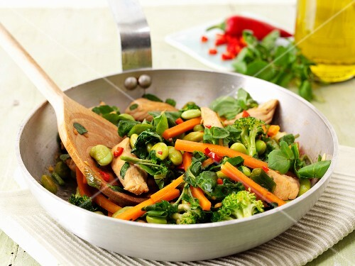 Stir-fried vegetables and chicken