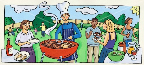 A barbecue scene with a chef at the barbecue, people eating and barbecue food in green surroundings (illustration)