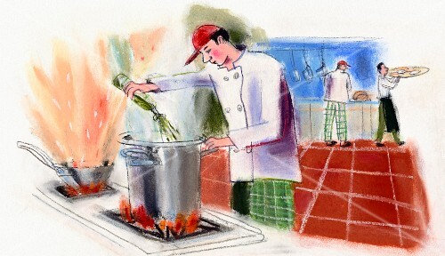 A kitchen scene with a chef at a stove with another chef and a waiter in the background (illustration)