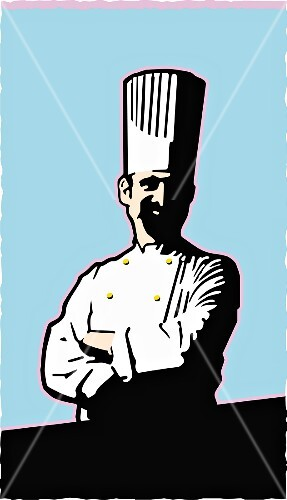 A chef with yellow buttons against a light-blue background (printed-style illustration)