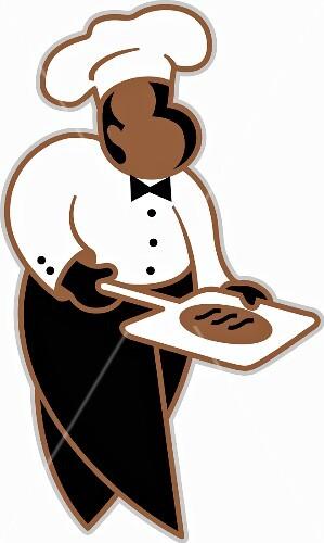 A chef wearing a chef's hat, a white shirt and black trousers carrying a pizza on a peel (illustration)