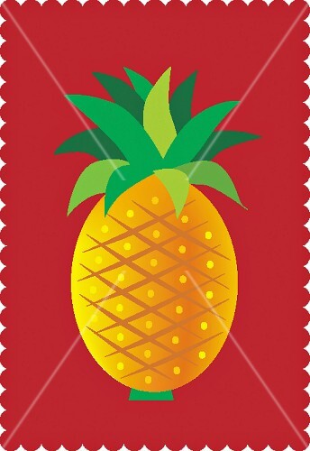 A pineapple with leaves against a red background (illustration)