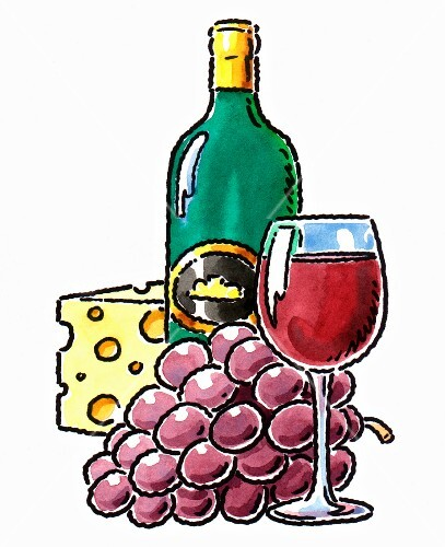 An arrangement of wine and cheese - a wine bottle, a glass of red wine, grapes, hard cheese (illustration)