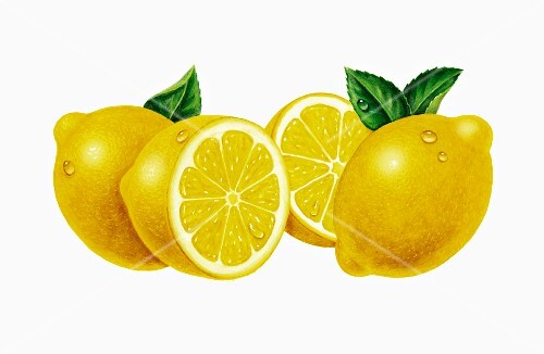 Whole lemons and a halved lemons with leaves (illustration)