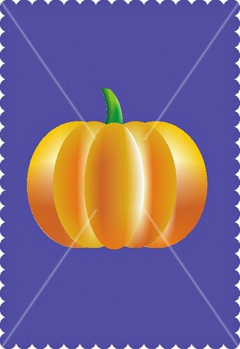 A yellow pumpkin on a purple background (illustration)
