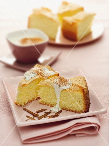Slices of cake with cinnamon cream