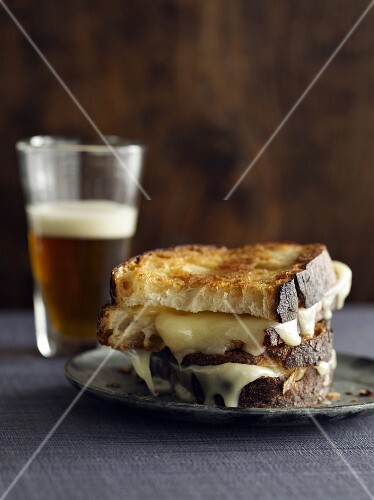 Grilled Cheese Sandwich on Crusty Bread with Beer