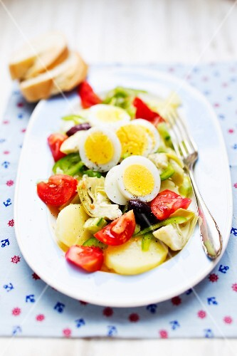 Potato and vegetable salad with egg (Create, Greece)