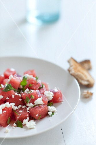 Serving of Watermelon and Feta Cheese Salad; Bread