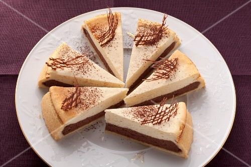 Cheesecake with chocolate filling on a white plate