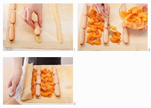 Apricot strudel with sponge fingers being prepared