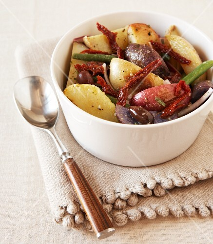 Roasted Potato Salad with Olives, Sun Dried Tomatoes, Green Beans and Rosemary Vinaigrette