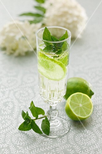 Hugo (a cocktail with elderflower syrup, champagne and limes)