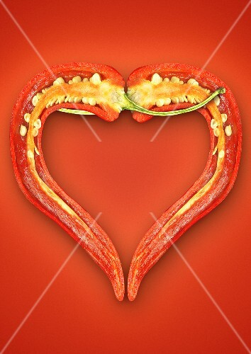 A halved chilli pepper in a heart-shape