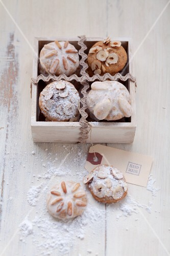 Ginger nut biscuits in a wooden box
