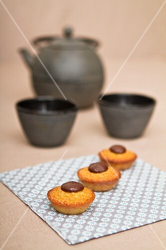 Financiers with chocolate