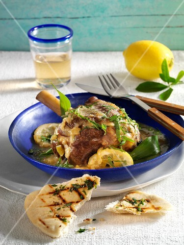 Knuckle of lamb in a lemon and ramson sauce
