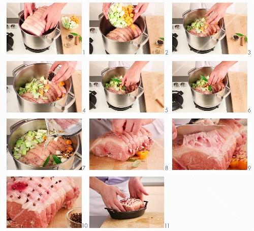 Roast ham being prepared