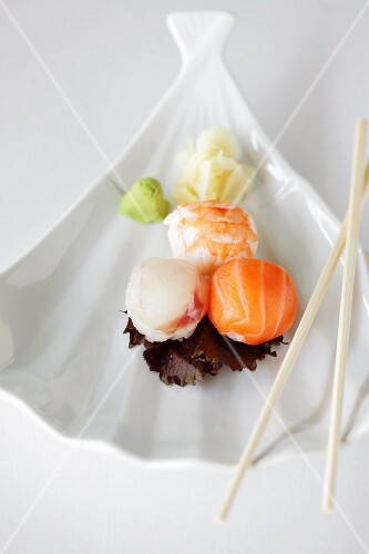Sushi balls with wasabi and ginger