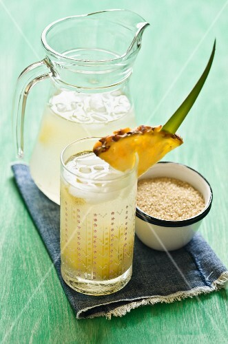 A pineapple drink and cane sugar