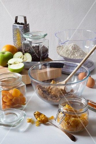 Assorted Baking Ingredients; Dried Fruit, Fresh Fruit, Batter, Flour