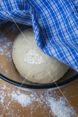 Towel Pulled Aside to Show Bread Dough Proofing in a Bowl