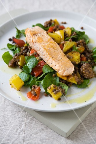 Salmon with Lentils and Roasted Vegetables