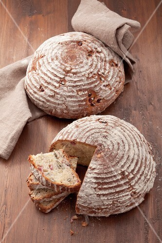Loaves of bread with pumpkin seeds and pomegranate