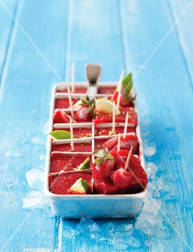 Strawberry sorbet as ice cubes