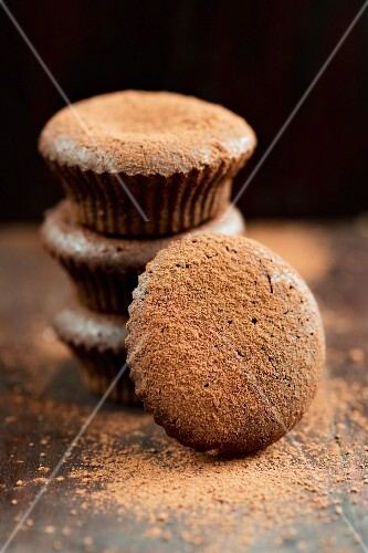 Chocolate muffins dusted with cocoa powder