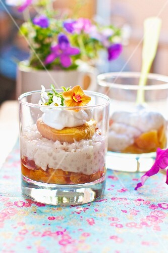 Peach Tapioca Pudding with Roasted Peaches; Served in Glasses
