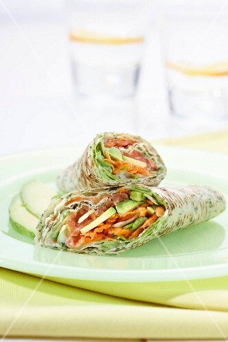 Herb wraps filled with salmon and avocado