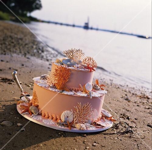Hochzeitstorte Mit Maritimer Dekoration Am Sandstrand