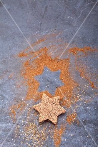 A star-shaped cinnamon biscuit