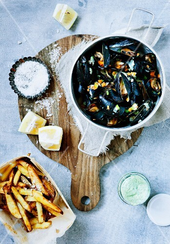 Bowl of Mussels with French Fries