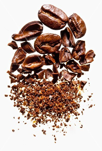Coffee beans, both whole and coarse-ground
