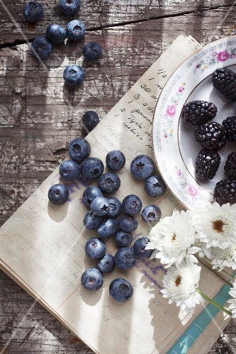 A summery still life of blueberries and blackberries