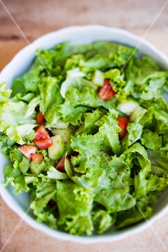 Salad leaves with cucumber, tomatoes and vinaigrette