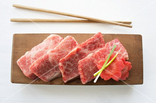 Thinly sliced raw Wagyu beef