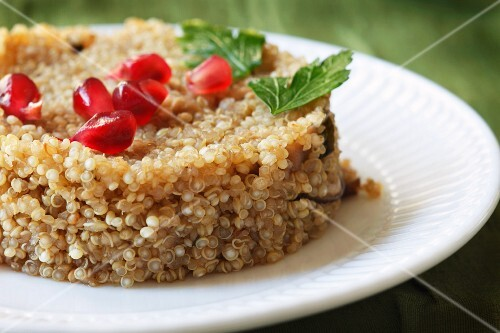 Quinoa with Mushrooms and Pomegranate Seeds