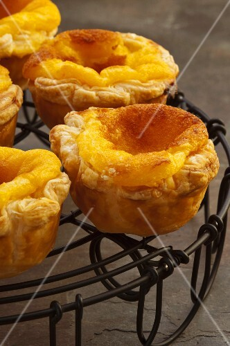 Pasteis de nata (puff pastry cases filled with custard, Portugal)