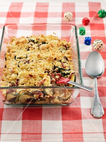 Courgette and bacon crumble