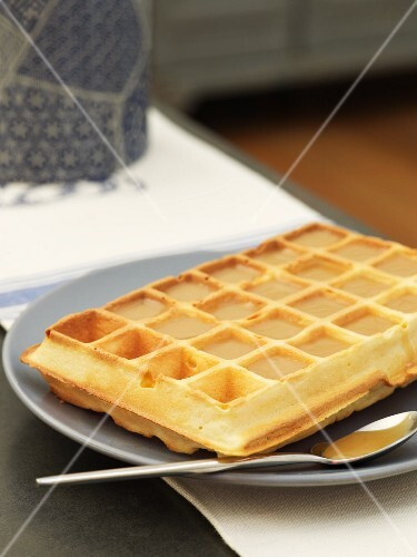 A waffle with caramel and salted butter
