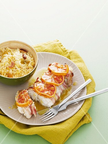 Monk fish with blood oranges and saffron rice