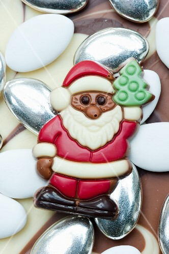 Chocolate Santa Claus on sugared almonds