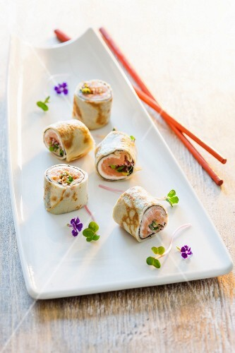 Pancake rolls with sushi