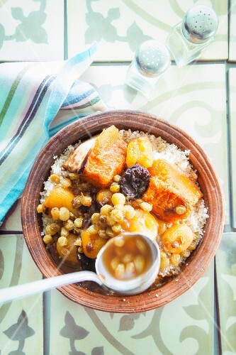 Sweet couscous with dried fruit and pumpkin