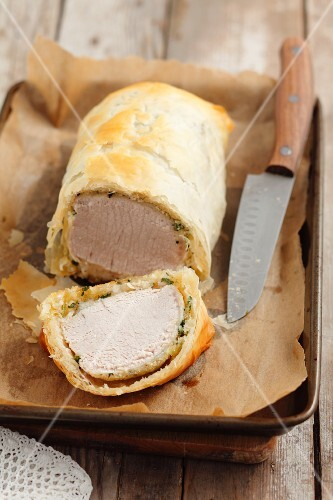 Pork loin in filo pastry