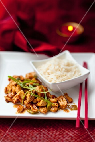 Kung pao (chicken with peanuts, spring onions and chili peppers, China)