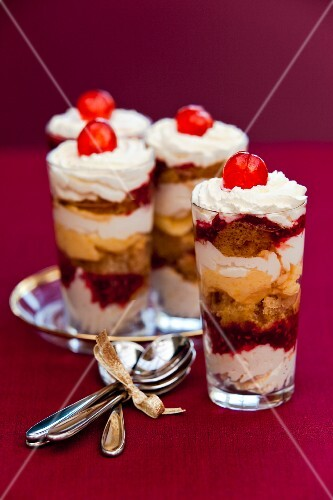 Sherry trifles in shot glasses